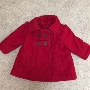 Old Navy 3-6mos red pea coat